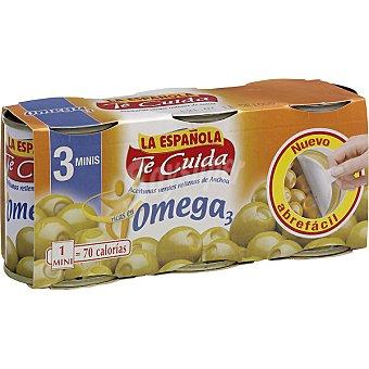 La Española Aceitunas Te Cuida rellenas de anchoa con omega 3  Pack 3x50 g neto escurrido