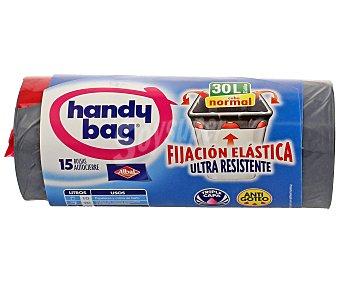 Handy bag Bolsas de basura elásticas 30 litros Paquete 15 unid