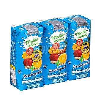 Hacendado Frutas+leche mediterraneo (brick azul) 3 x 330 ml