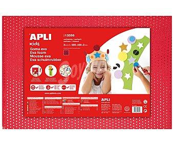 APLI Plancha de foam, goma eva de color rojo con puntitos metálicos y dimensiones 400x600x2 milímetros 1 unidad