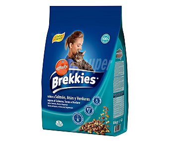 Brekkies Affinity Alimento seco para gatos sabor salmón, atún y verduras con calcio y vitaminas Paquete 4 kg