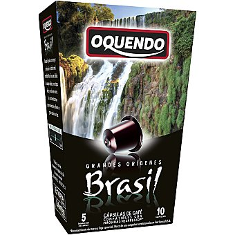 Oquendo Café 10 cápsulas compatible con máquinas Nespresso  GRANDES ORIGENES Brasil 10 cápsulas (estuche 85 g)