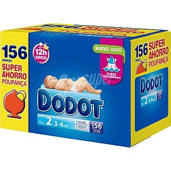 Dodot Pañales de 3 a 6 kg talla 2 pack 2 x 78 unidades caja 156 unidades Pack 2 x 78 unidades