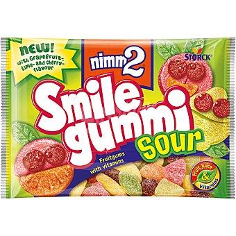 NIMM2 SMILE GUMMI Caramelos de goma con zumo de frutas y vitaminas sabor ácido Bolsa 100 g