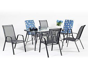 Hevea Mesa de acero color antracita y cristal templado de seguridad, modelo Sulam de 150x90x75 centímetros 1 unidad