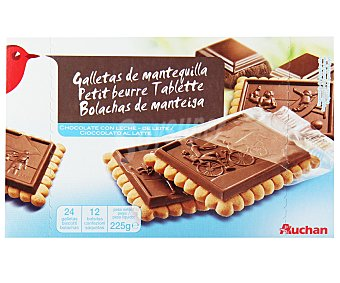 Auchan Galletas de mantequilla con tableta de chocolate con leche 225 gr