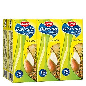 Juver Disfruta Zumo de pera y piña sin azucares añadidos Pack 6 envase 200 ml
