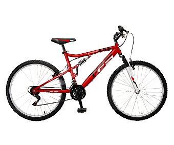 FULL SUSPENSION Bicicleta de montaña de 26 pulgadas, con cuadro de acero, doble suspensión y 21 Velocidades, Frenos v-brake 1 Unidad