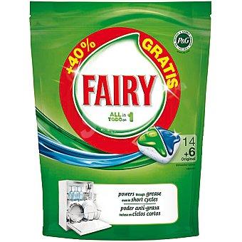 Fairy Detergente lavavajillas todo en 1 original envase 14 pastillas + 6 gratis 1 envase 14 pastillas + 6 gratis