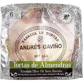 GAVIÑO Torta almendra paquete 200 g 6 unidades