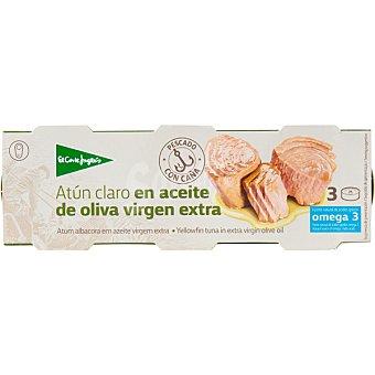 El Corte Inglés Atun claro en aceite de oliva virgen extra neto escurrido Pack 3 lata 60 g