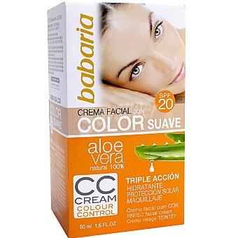 Babaria Crema hidratante facial color suave con Aloe Vera SPF-20 triple accion tarro 50 ml Tarro 50 ml