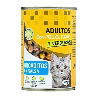 Lucy Comida gato adultos bocaditos salsa pollo pavo y verduras Bote 400 g