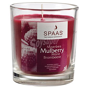 SPAAS Vela Perfumada en vaso de cristal transparente aroma Mora