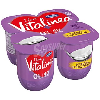 Vitalínea Danone Yogur Desnatado Natural Edulcorado 0% Materia Grasa y Azucares Añadidos 4 Unidades de 125 Gramos
