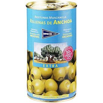 Hipercor aceitunas rellenas de anchoa 30% menos sal  lata 150 g neto escurrido