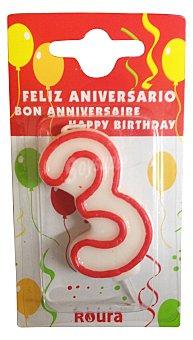 Roura Vela cumpleaños Nº 3 1 unidad