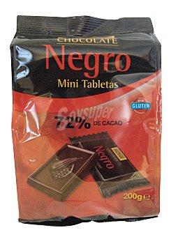 Hacendado Chocolatina mini tabletas 72 % Paquete 200 gramos
