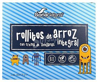 Soria Natural Rollitos de arroz con crema y avellanas Pack 4 x 25 g