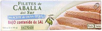 Hacendado Caballa sur filete aceite oliva baja en sal Pack de 2x65gr