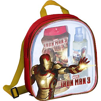 IRON MAN 3 mochila con eau de toilette infantil + gel de baño frasco 475 ml spray 200 ml