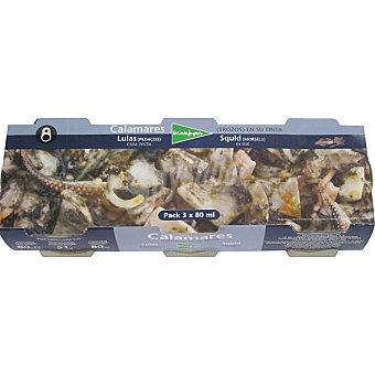 El Corte Inglés Calamares troceados en su tinta pack 3 lata 51 g neto escurrido Pack 3 lata 51 g