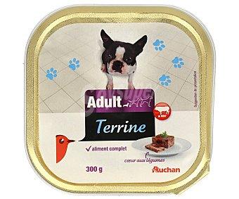 Auchan Comida húmeda para perros adultos, rica en carne de buey Tarrina de 300 Gramos