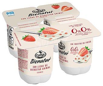 Clesa Yogur cremoso desnatado (0% materia grasa) con leche de bienestar animal y trocitos de fresas bienatur 4 x 115 g