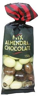 Hacendado Almendra bañada chocolate mix (chocolate con leche, negro y blanco) Paquete de 150 g