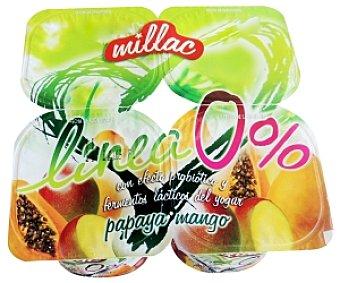 Millac Yogur Desnatado papaya/mango 4 Unidades de 125 Gramos