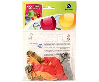 NV CORPORACION Bolsa de 12 globos colores metalizados Paquete de 12 Unidades