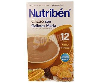 Nutribén Papilla instantánea de cereales con cacao y galleta María de fácil digestión a partir de 12 meses 600 gramos