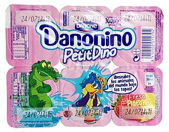 Danonino Danone Petit Suisse fresa plátano 6 unidades de 50 g