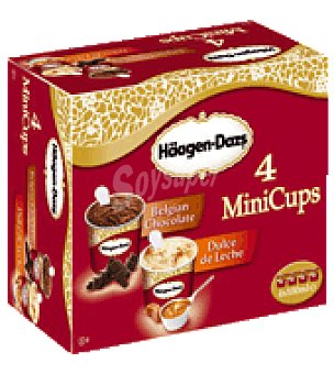 Häagen-Dazs Minitarrinas sabor dulce de leche y chocolate belga Häagen Caja de 4 unidades