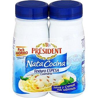 President Nata espesa para cocinar Pack botes de 2x250 ml