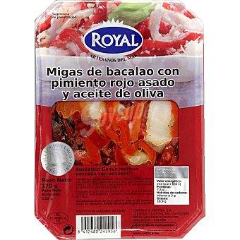 Royal Pescados Migas de bacalao con pimiento rojo asado y aceite de oliva Envase 170 g
