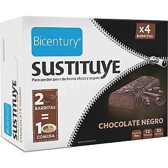 Bicentury Barritas sustitutivas sabor chocolate negro Sustituye 4 unidades (estuche 128 g)