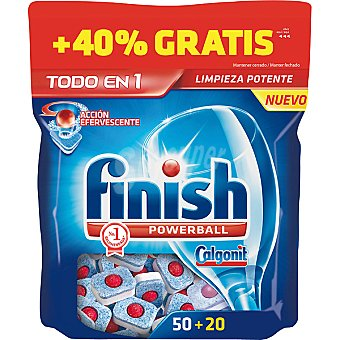 Finish detergente lavavajillas Power Ball todo en 1 acción efervescente  bolsa 50 pastillas + 20 gratis