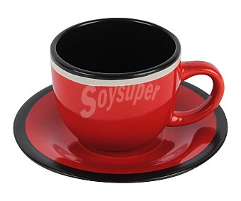 Taberseo Taza más plato fabricados en gres color rojo y negro 1 unidad