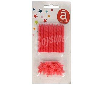 Actuel Velas de cumpleaños color rojo con soporte, actuel Pack de 10