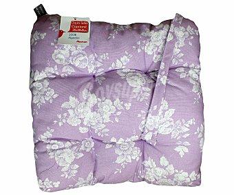 AUCHAN Cojín capitoné estampado para silla, modelo Panama, color violeta 35x35x8 centímetros 1 Unidad