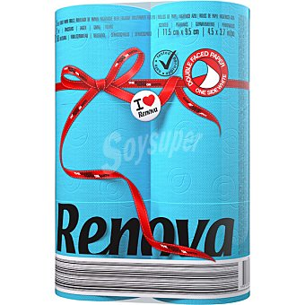 Renova Papel higiénico azul Paquete de 6 rollos