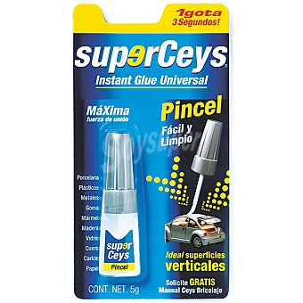 CEYS Superceys Pegamento instantáneo universal con pincel envase 5 g Envase 5 g