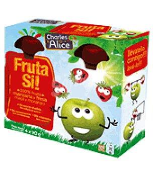 CHARLES ALICE Fruta Si manzana y fresa pack de 4x90 g
