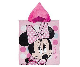 Auchan Toalla poncho infantil de playa con estampado diseño Minnie Mouse de Disney, 50x115 centímetros, tejido velour con densidad de 300 gramos/m² 1 unidad