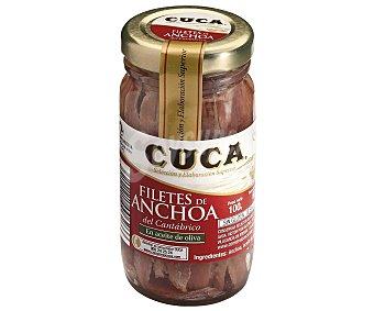 Cuca Filetes de anchoa del cantábrico en aceite de oliva, sin gluten y sin lactosa 60 gramos (peso escurrido)