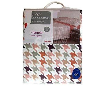 AUCHAN Juego de sábanas de franela para cama de 90 centímetros, bajera y funda de almohada color rosa, y encimera estampada, 140 gramos/m² 1 Unidad