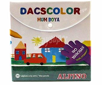 Alpino Caja de 24 lápices de cera para colorear y que no manchan Dacs 1 unidad