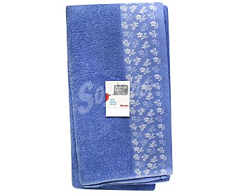AUCHAN Toalla estampada, 100% algodón, color azul, 100x150 centímetros 1 Unidad