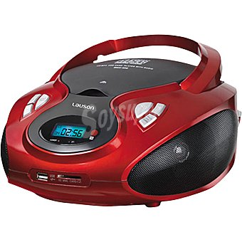 LAUSON CP429 Radio CD portátil con MP3 y USB en color rojo